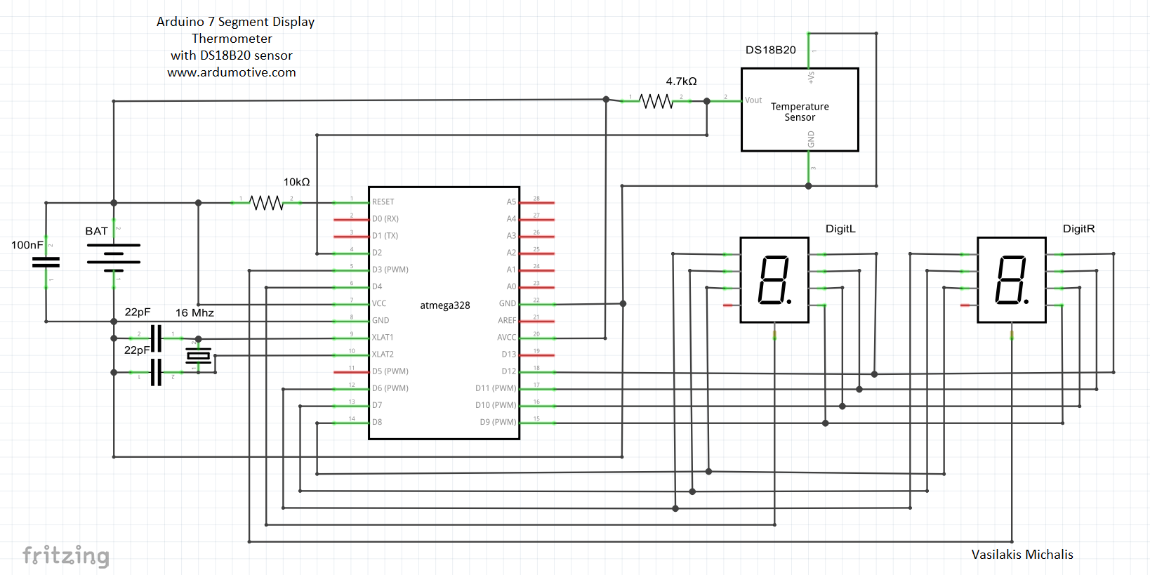Arduino Seven Segment Display Thermometer Ardumotive Greek 7 Counter Circuit Diagram Picture
