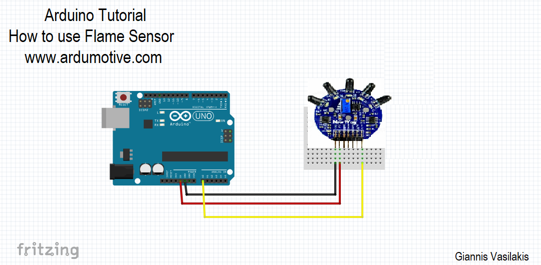 How to use the Flame sensor with Arduino - Ardumotive Arduino Greek
