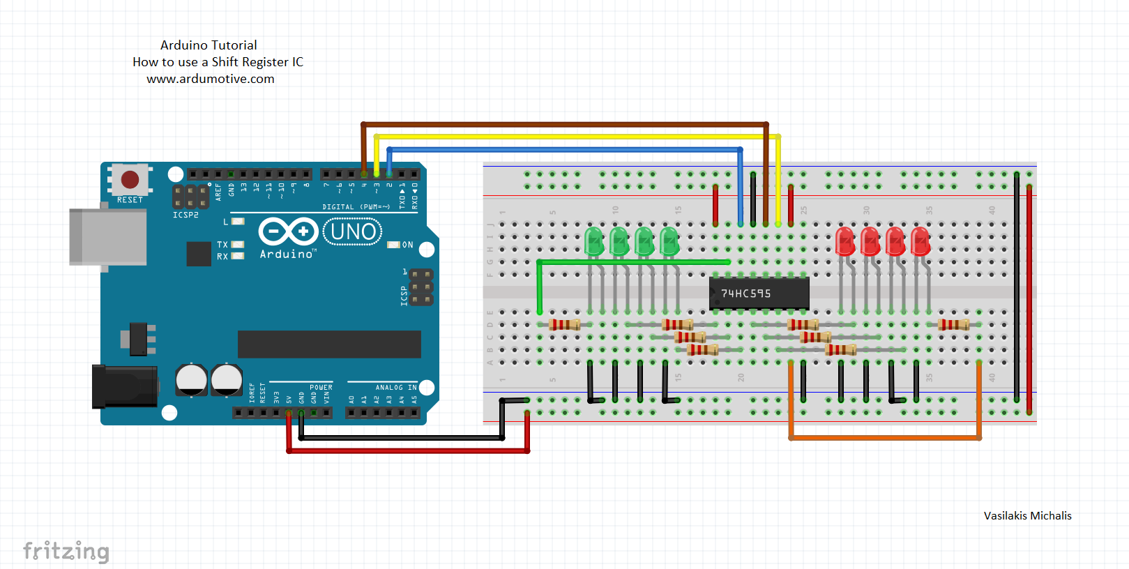 Shift Out Register 595 Arduino Tutorial Ardumotive Circuit Diagram The