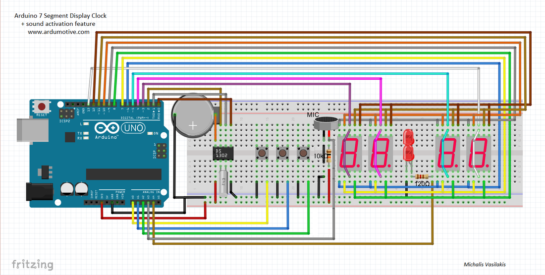 Arduino 7 Segment Display Clock with sound activation ... on